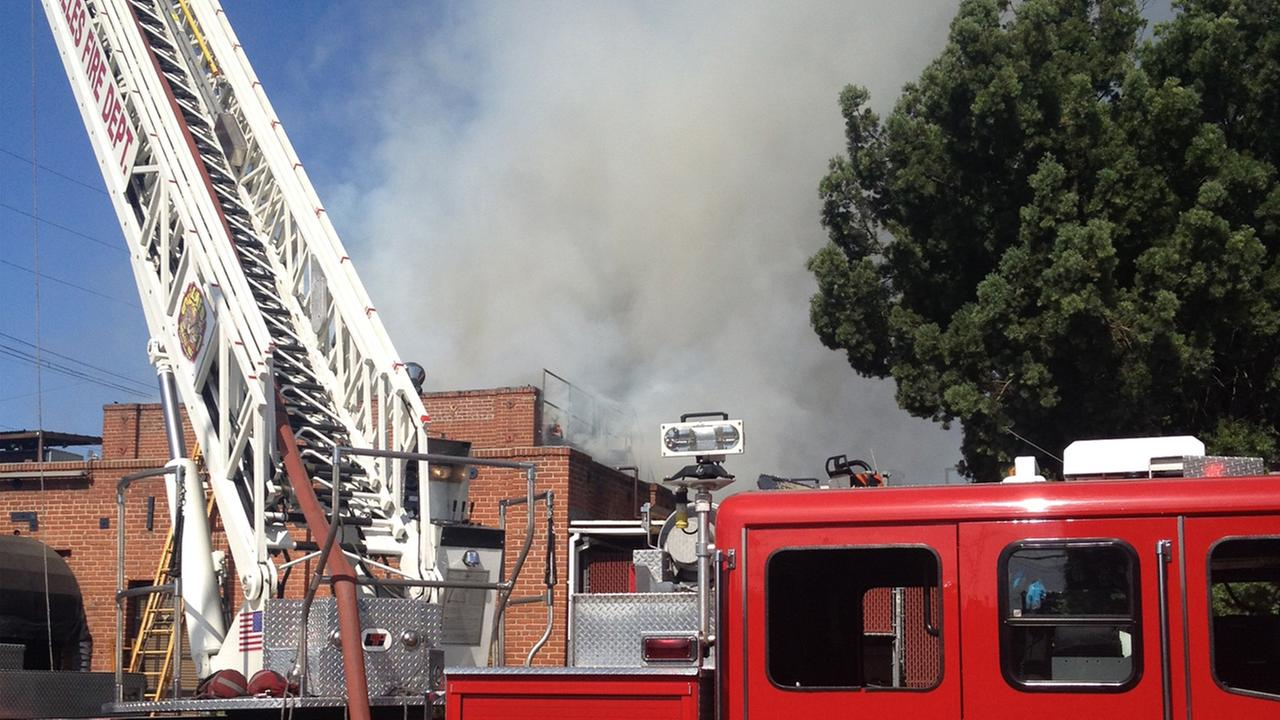 Crews on scene of a fire at a building in Hollywood Sunday, July 13, 2014.