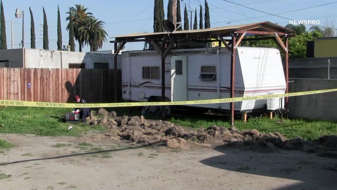 A womans body was found in a trailer in the 1200 block of North Perris Street on Sunday, March 26, 2017, after San Bernardino police said a man stabbed his girlfriend to death.