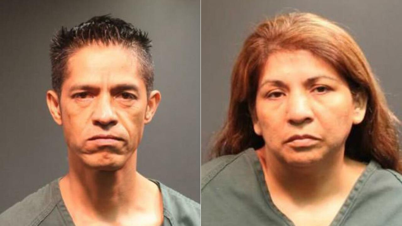 Luis Eduardo Distancia, left, and his wife, Alma Rosa Nave, are seen in booking photos after their arrests.