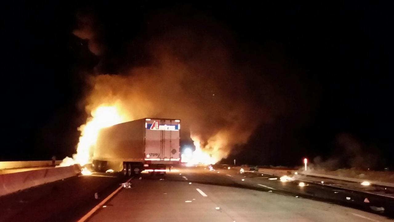 A big rig erupted in flames after a multi-vehicle crash in Apple Valley on Thursday, March 30, 2017.