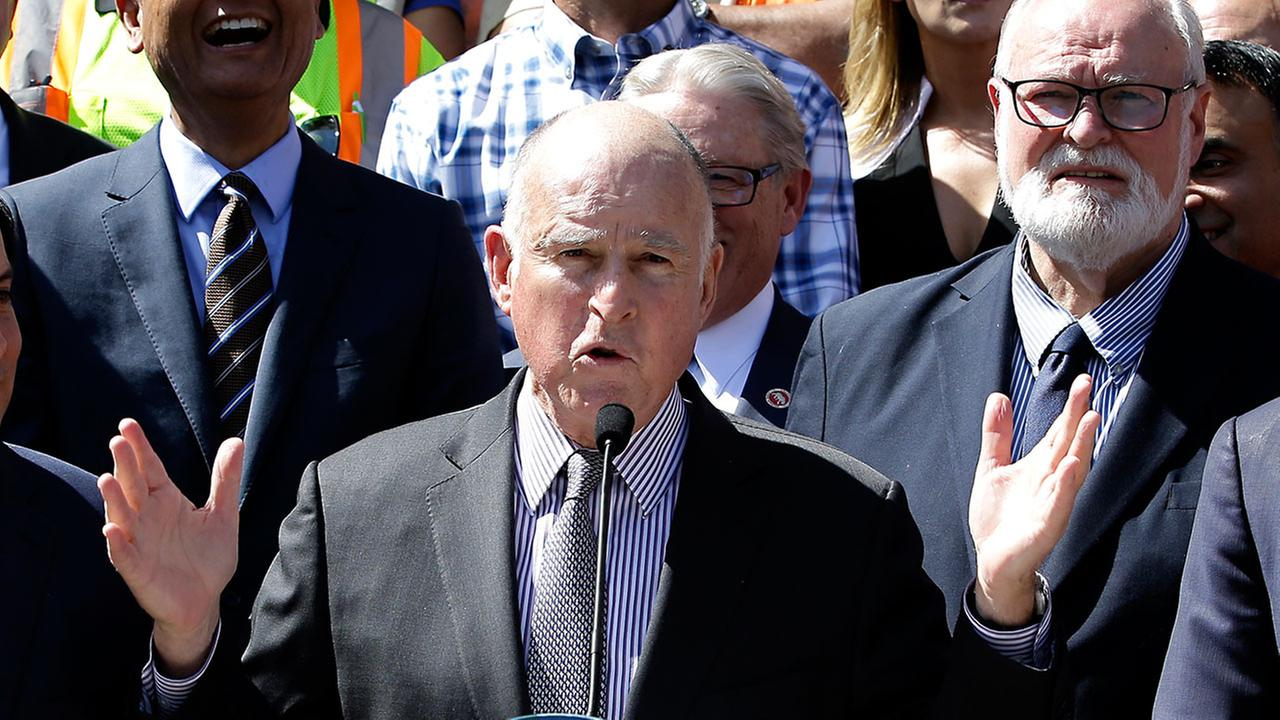 Calif., Gov. Jerry Brown discusses a plan to raise $52 billion to fix California roads, during a news conference Wednesday, March 29, 2017, in Sacramento, Calif.