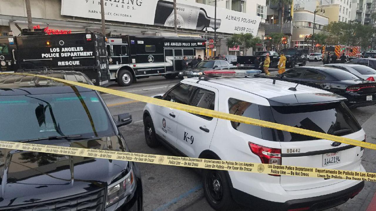 Several streets were shut down in Hollywood during a standoff between an armed suspect and Los Angeles police on Saturday, April 1, 2017.