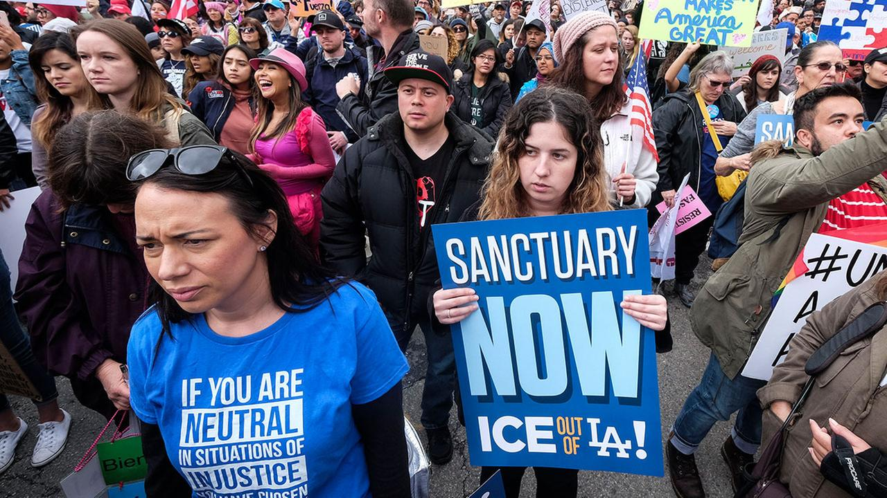 Thousands of people took part in a march in Los Angeles on Feb. 18, 2017 to protest President Trumps immigration policies and call for immigrants to be given sanctuary.