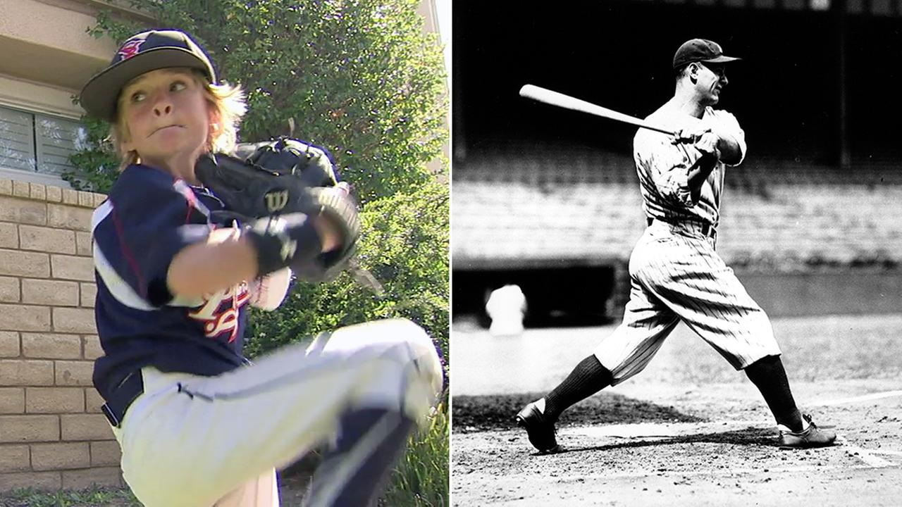 Christian Haupt (left), of Thousand Oaks, and Lou Gehrig (right) in a photo from on Sept. 16, 1932.