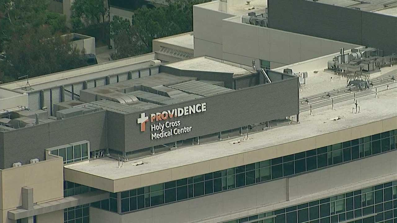 The sign for Providence Holy Cross Medical Center in Mission Hills is seen in this aerial photo taken Thursday, April 6, 2017.