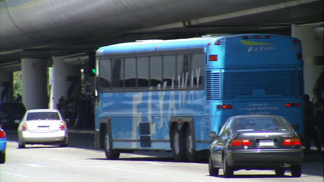 A FlyAway shuttle is seen at Los Angeles International Airport in this undated file photo.