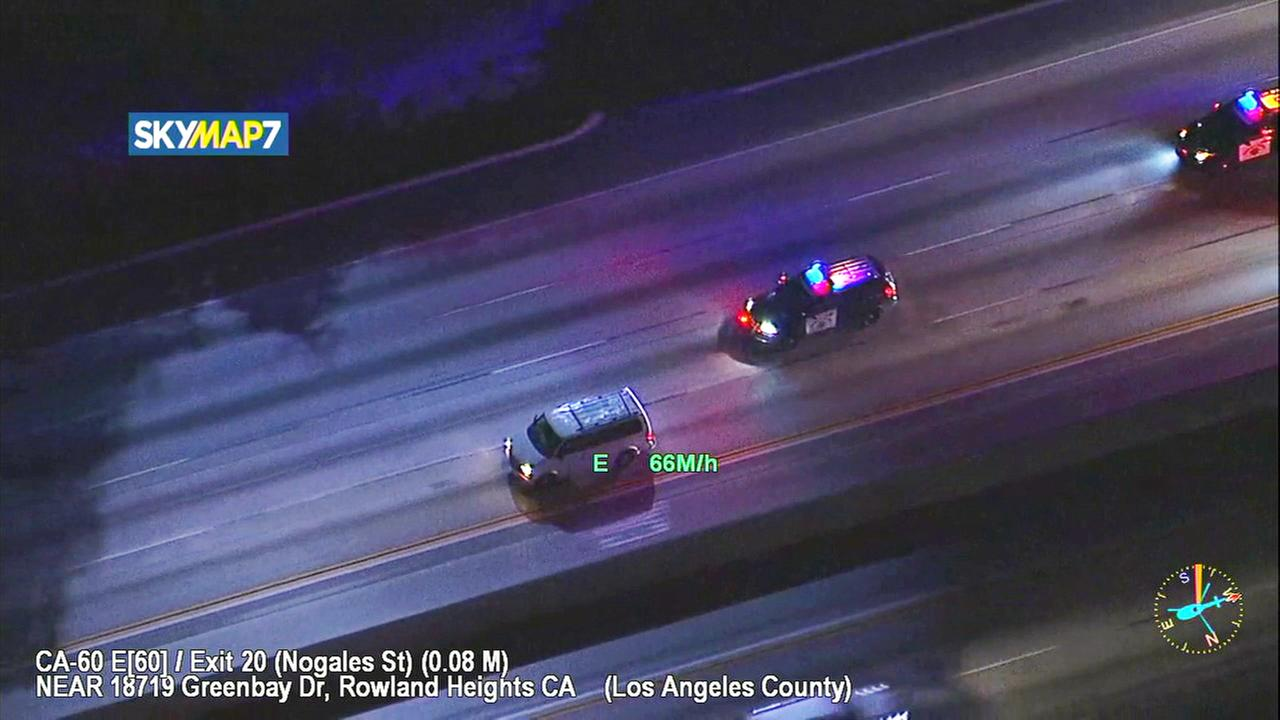 Police chase stolen car suspect in East LA County