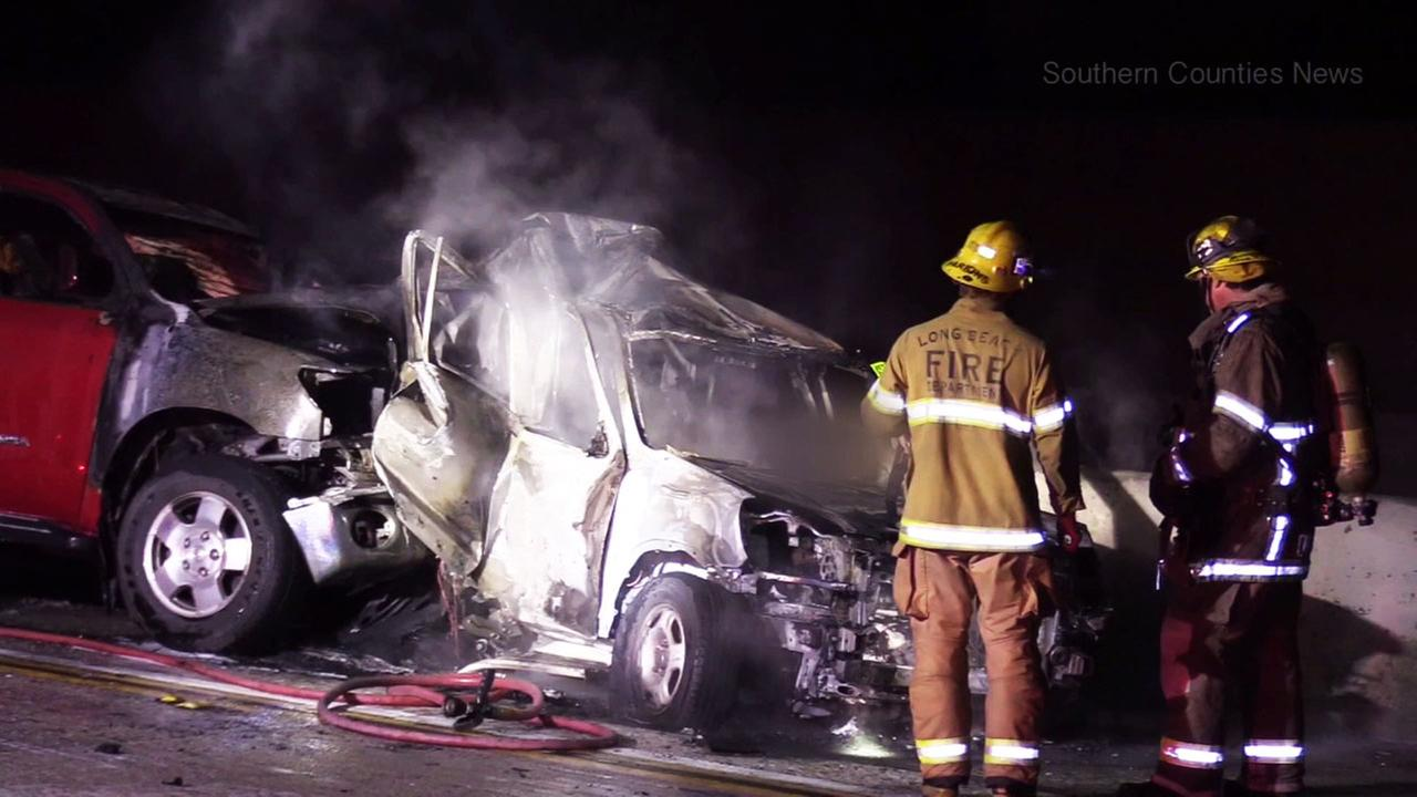The scene of a deadly crash on the 405 Freeway in Long Beach on Sunday, April 9, 2017.