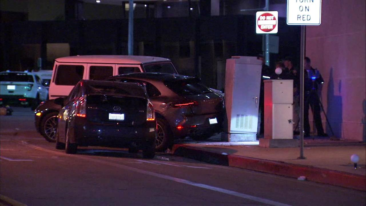 A woman was killed and a man critically injured after a car struck them following a crash in Beverly Hills on Sunday, April 9, 2017, according to police.
