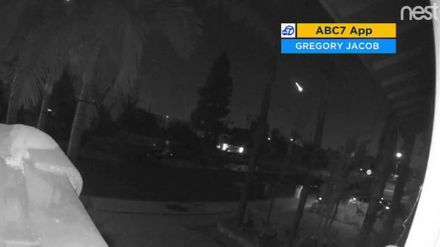 Video of a meteor streaking across the SoCal skies was recorded by doorbell video.