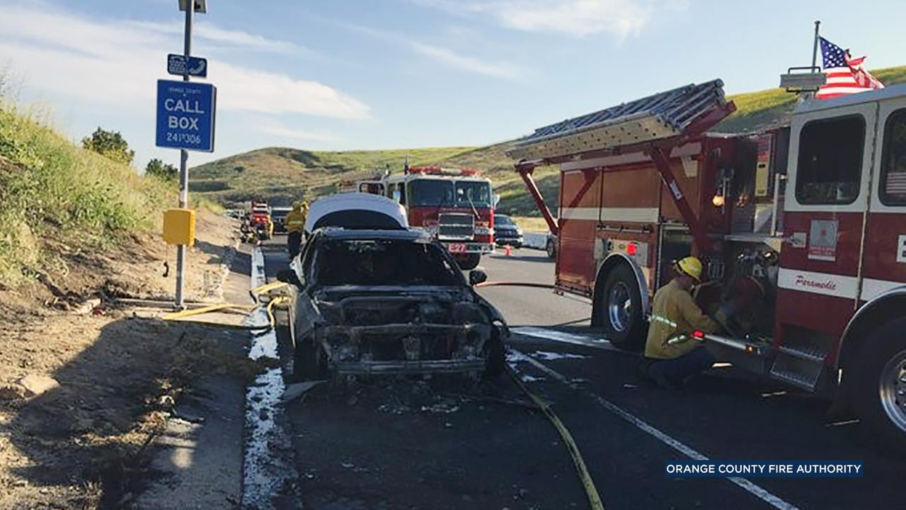 Fire officials said a 27-year-old man was killed the 241 toll road in Santiago Canyon after a contracting truck backed over him on Monday, April 11, 2017.