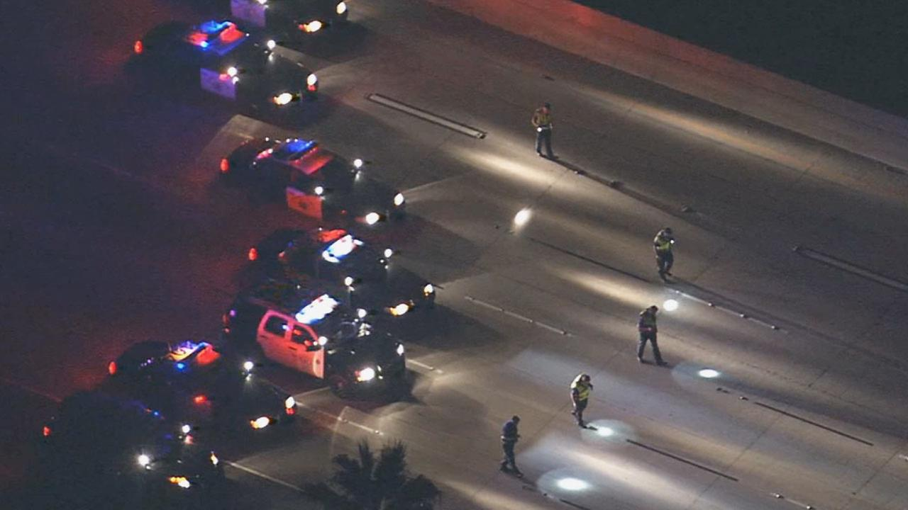 All westbound lanes of the 91 Freeway were closed at N. Kraemer Blvd. while police investigated a double shooting that killed one person Monday night.
