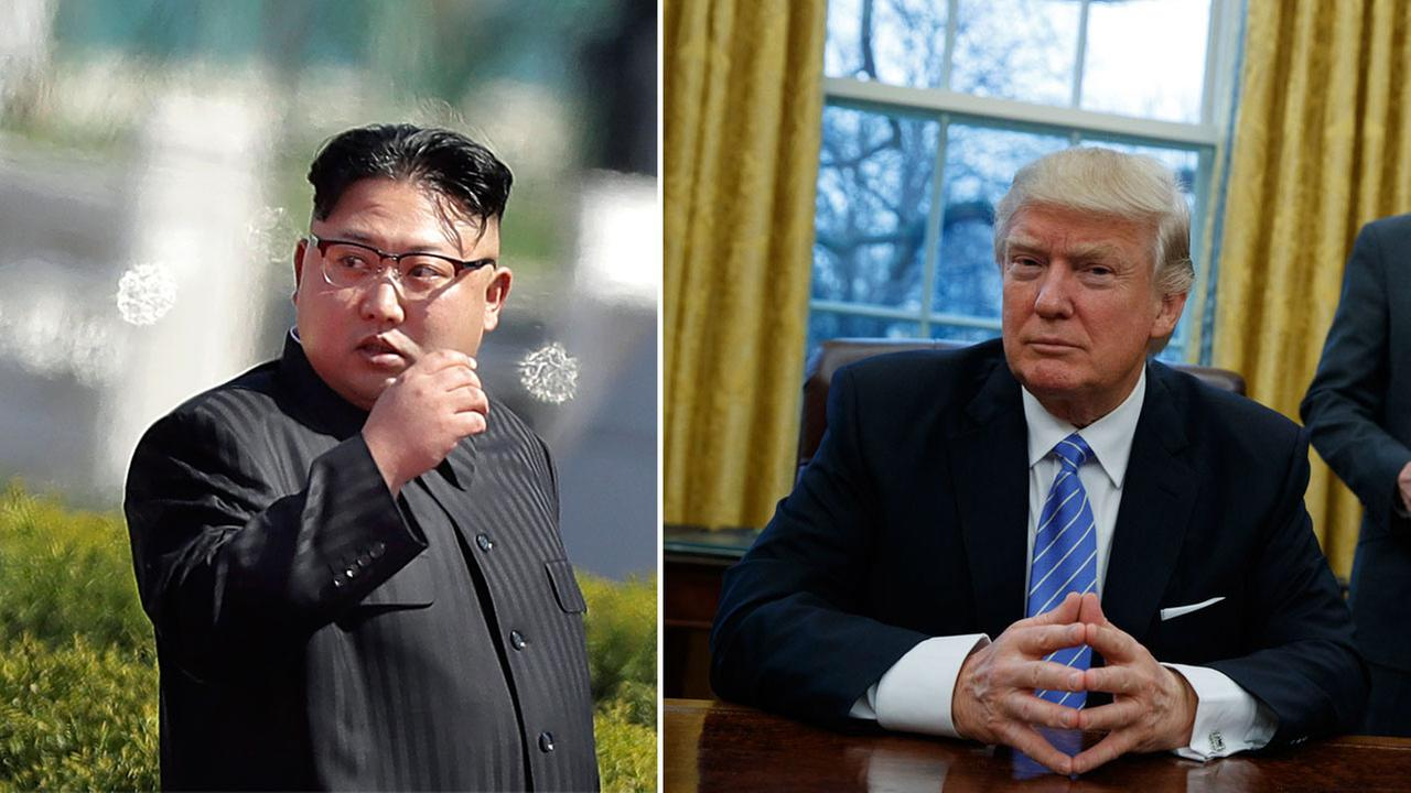 North Korean leader Kim Jong Un and President Donald Trump are shown in photos.