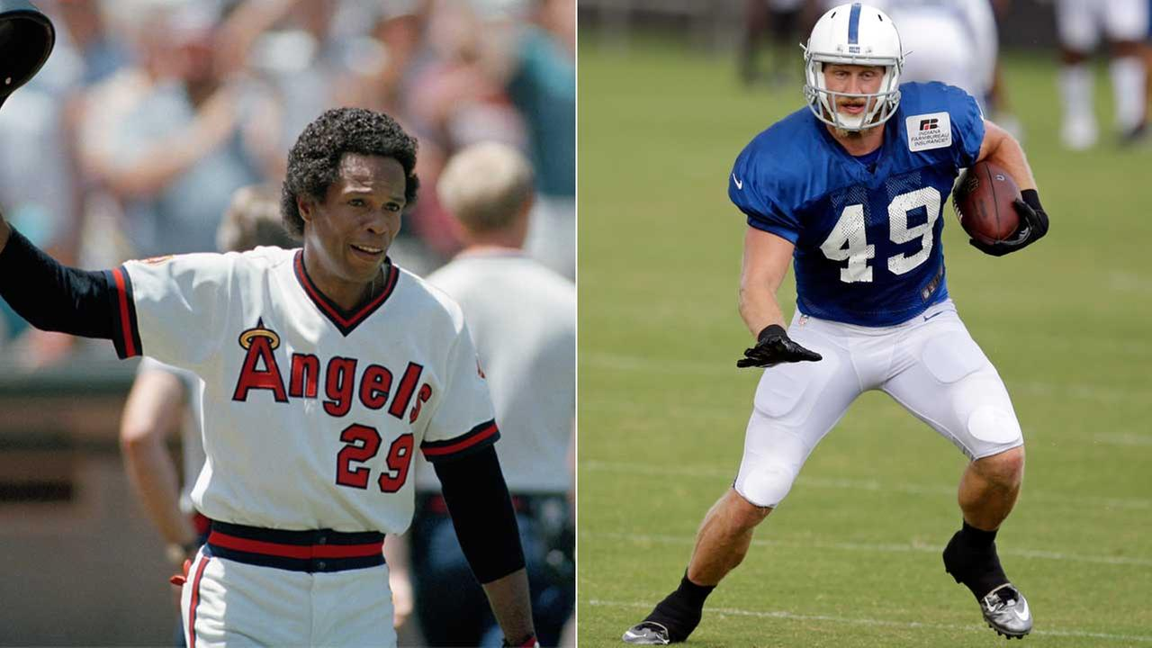 (Left) Rod Carew of the California Angels is seen in a photo in 1985. (Right) Then-Indianapolis Colts tight end Konrad Reuland makes a catch in 2016.