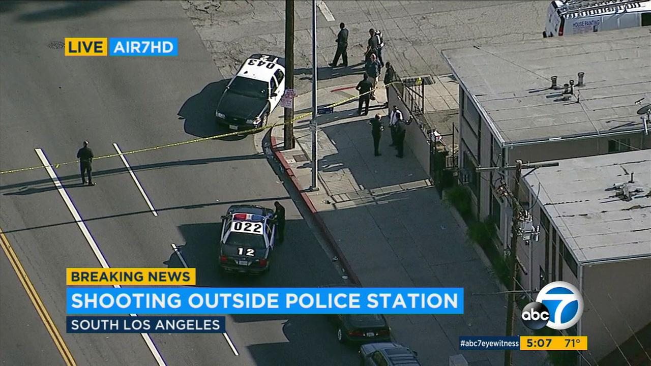 One man was injured by gunfire in a shooting that took place near the LAPDs 77th Division station in South Los Angeles.