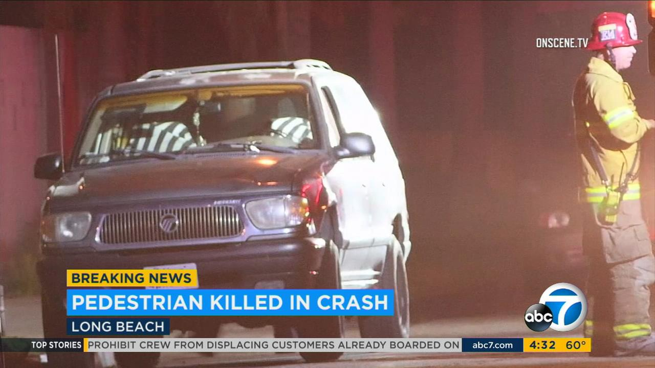 Firefighters responded to an intersection in Long Beach after a fatal hit-and-run crash on Tuesday, April 18, 2017.