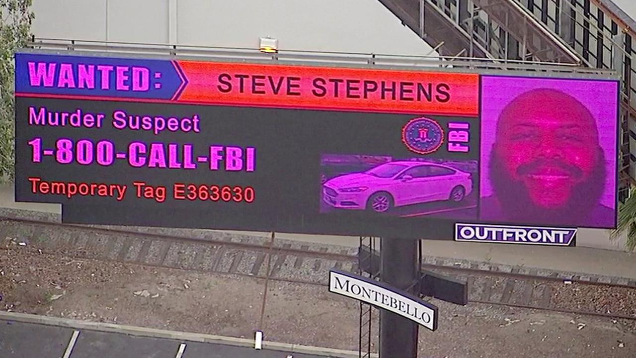 A digital billboard in Montebello shows Steve Stephens, a Cleveland homicide suspect who allegedly recorded himself shooting another man and then posted the video on Facebook.