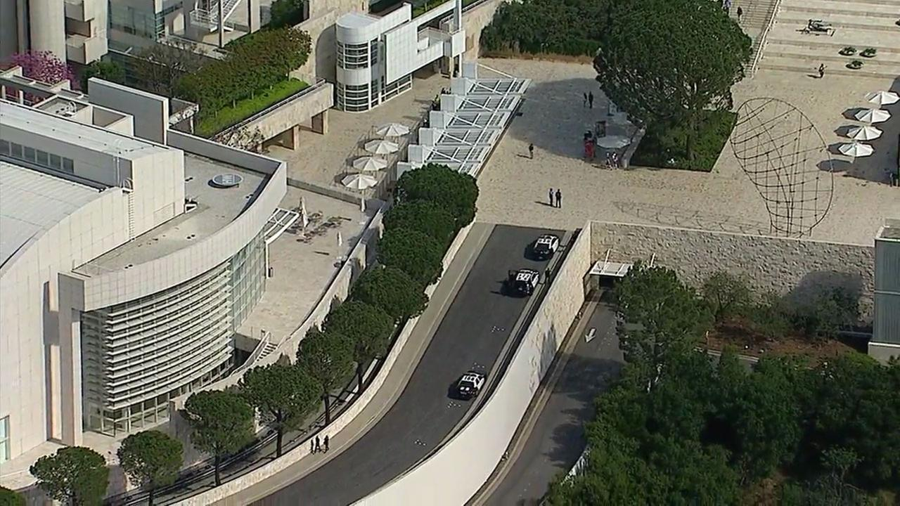 Authorities investigate a threat made to the Getty Museum on Tuesday, April 18, 2017.