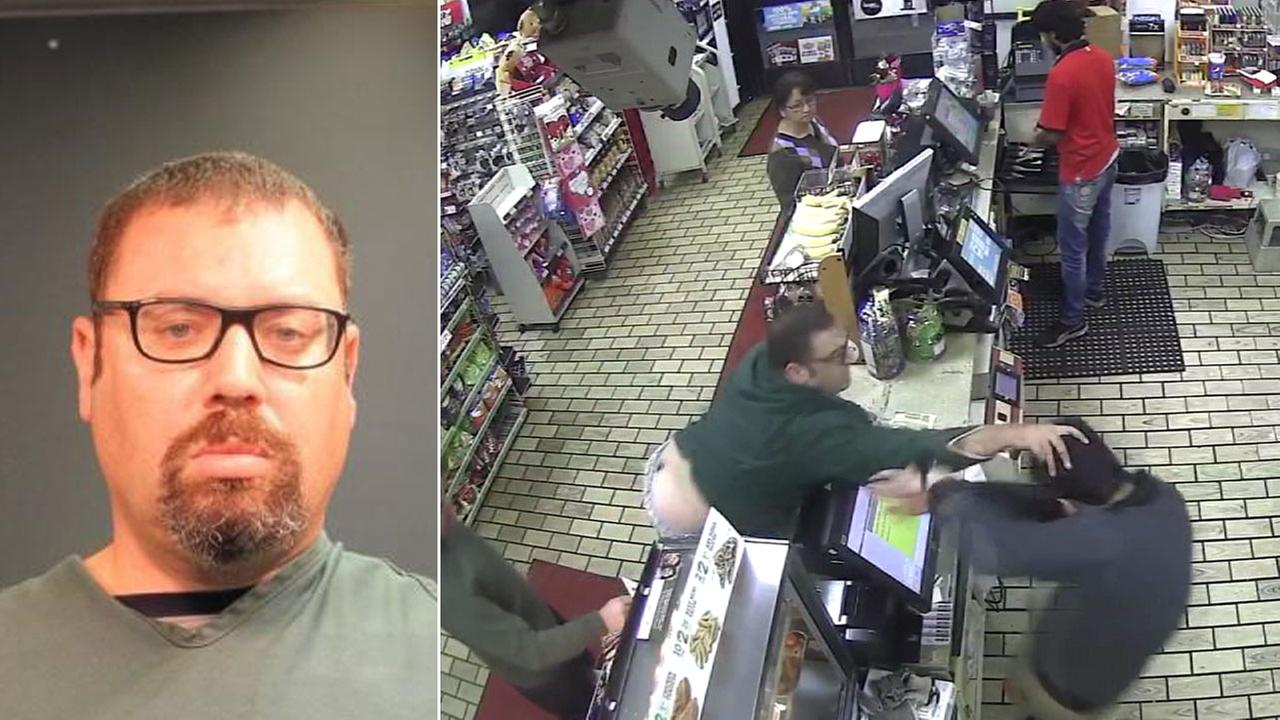 Daniel Fine, 41, is shown in a mugshot alongside surveillance footage of a confrontation he had with a 7-Eleven clerk in Santa Ana in February.
