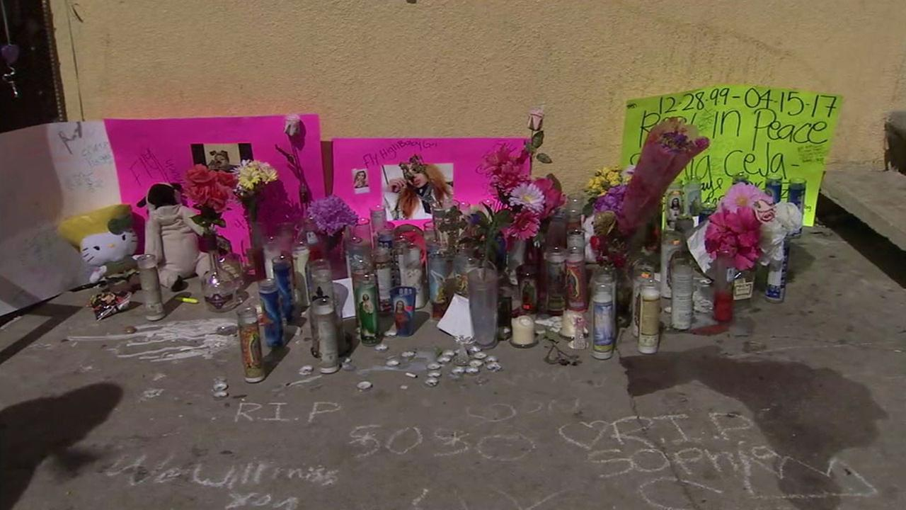 A makeshift memorial is shown at the site where 17-year-old Sofia Ceja was killed in a triple shooting in Moreno Valley.