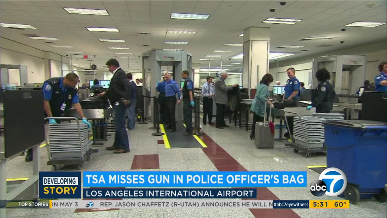 TSA officers are seen at Los Angeles International Airport in an undated file photo.