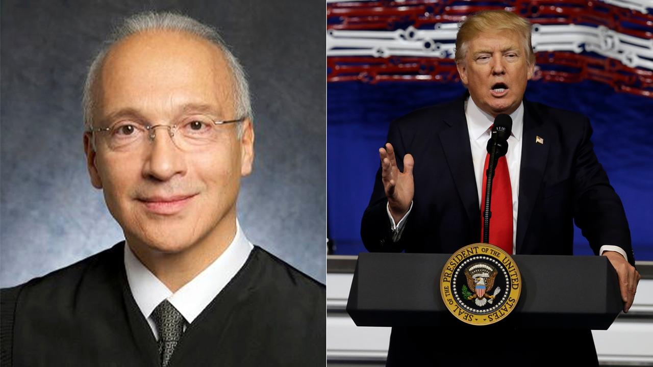 An undated photo, left, provided by the U.S. District Court shows Judge Gonzalo Curiel. President Donald Trump speaks at Snap-On Tools, Tuesday, April 18, 2017, in Wisconsin.