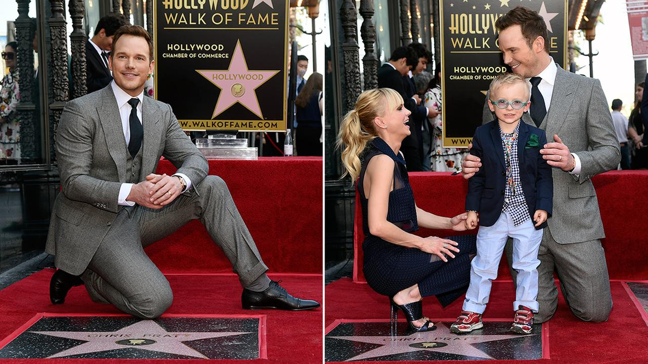 Chris Pratt, was joined by his wife, actress, Anna Faris and their son Jack during a ceremony to award Pratt a star on the Hollywood Walk of Fame on Friday, April 21, 2017.