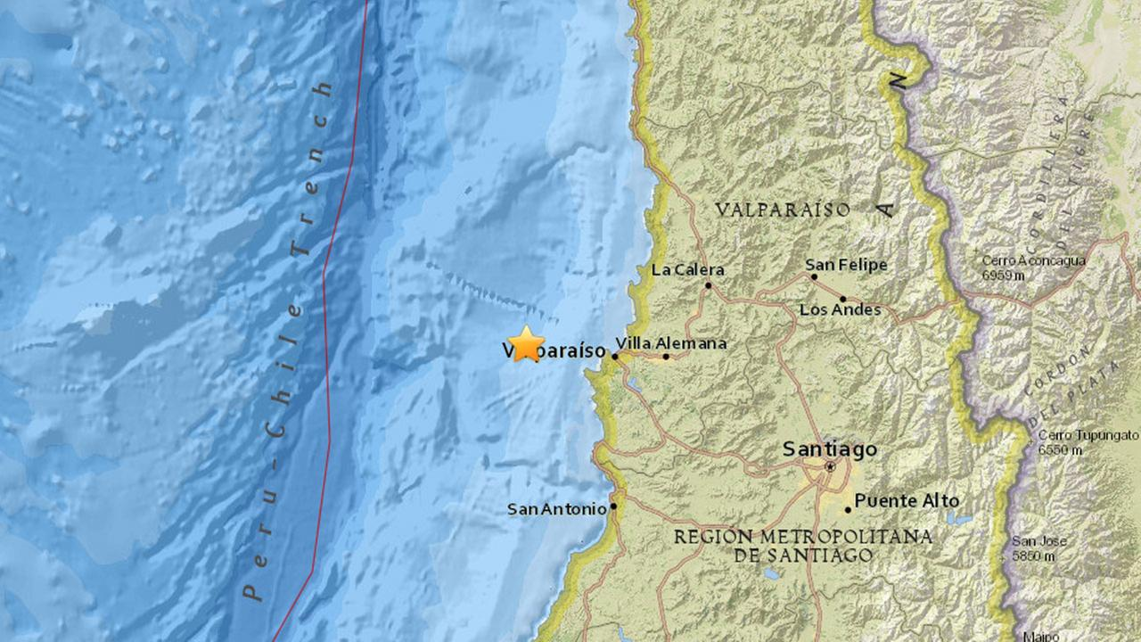 A map on the U.S. Geological survey shows where a powerful 7.1-magnitude earthquake struck off the coast of Chile.