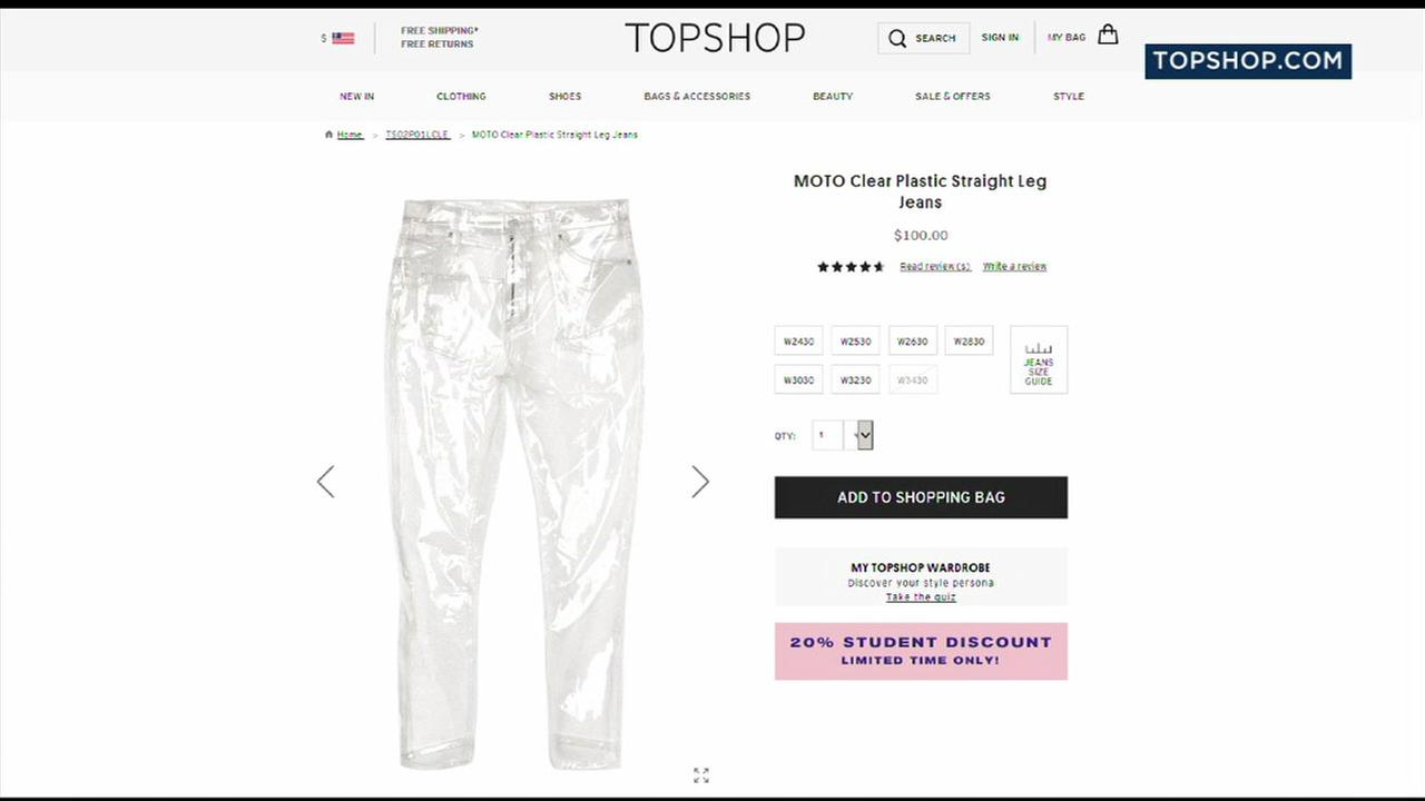 The clear jeans are shown for sale on the Topshop website.