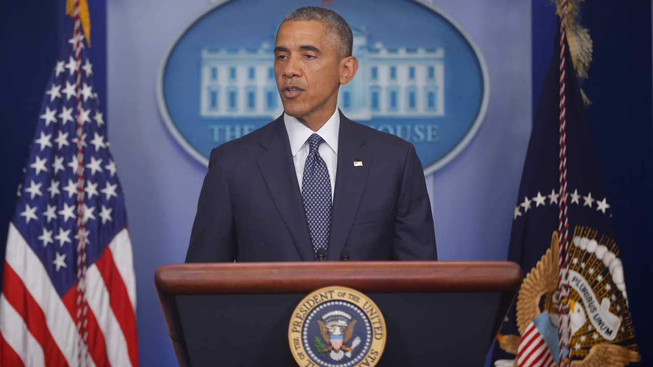 President Barack Obama speaks about foreign policy and escalating sanctions against Russia in response to the crisis in Ukraine at the White House.