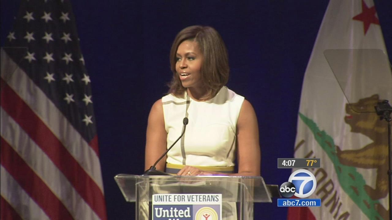 First Lady Michelle Obama received a warm welcome from business and community leaders as she spoke at the Unite for Veterans Summit Wednesday, July 16, 2014.