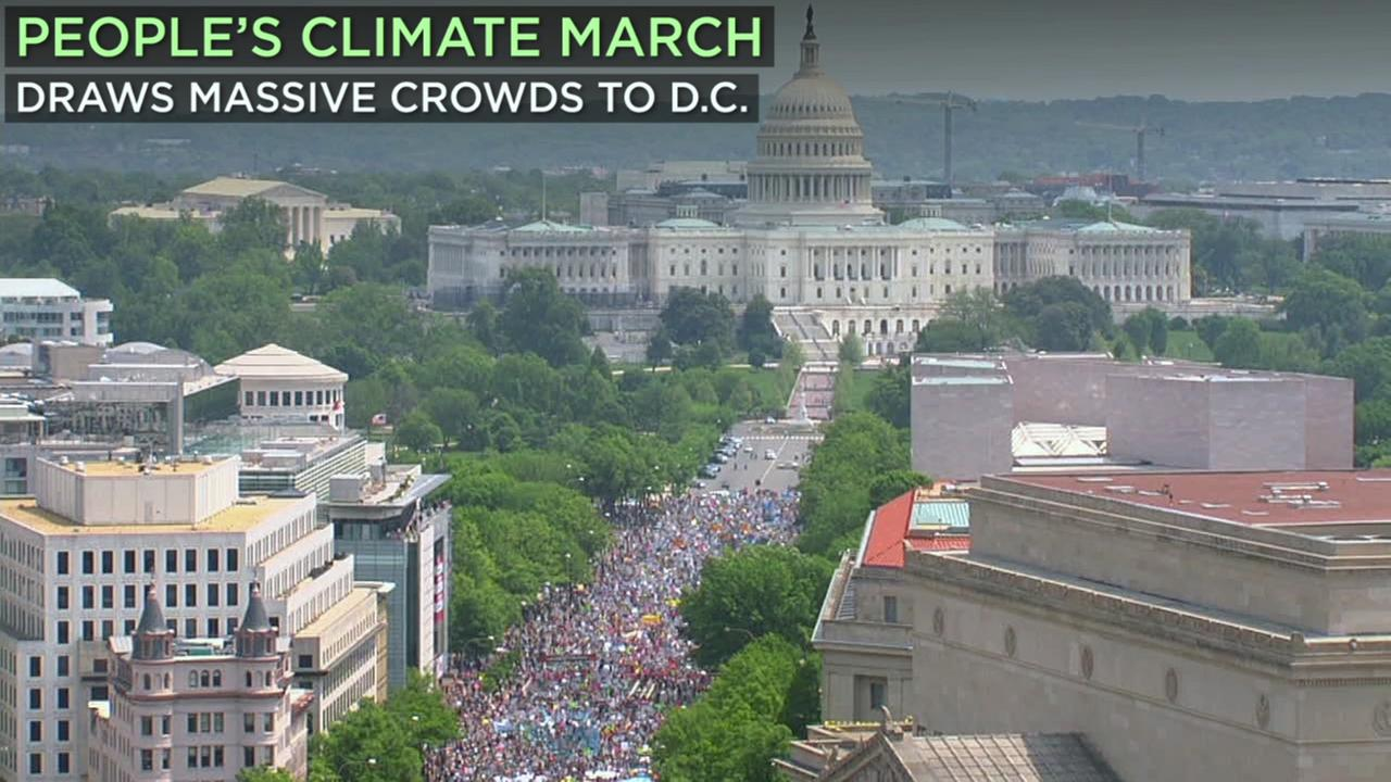 Thousands of people across the U.S. marched Saturday on President Donald Trumps 100th day in office to demand action on climate change.