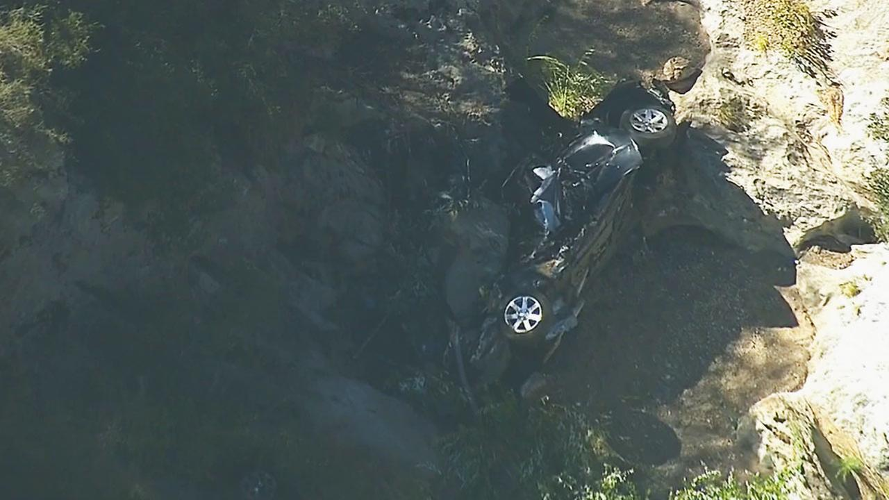 A vehicle was located in Newton Canyon about 900 feet down from Kanan Dume Road in the Santa Monica Mountains on Wednesday, July 16, 2014.
