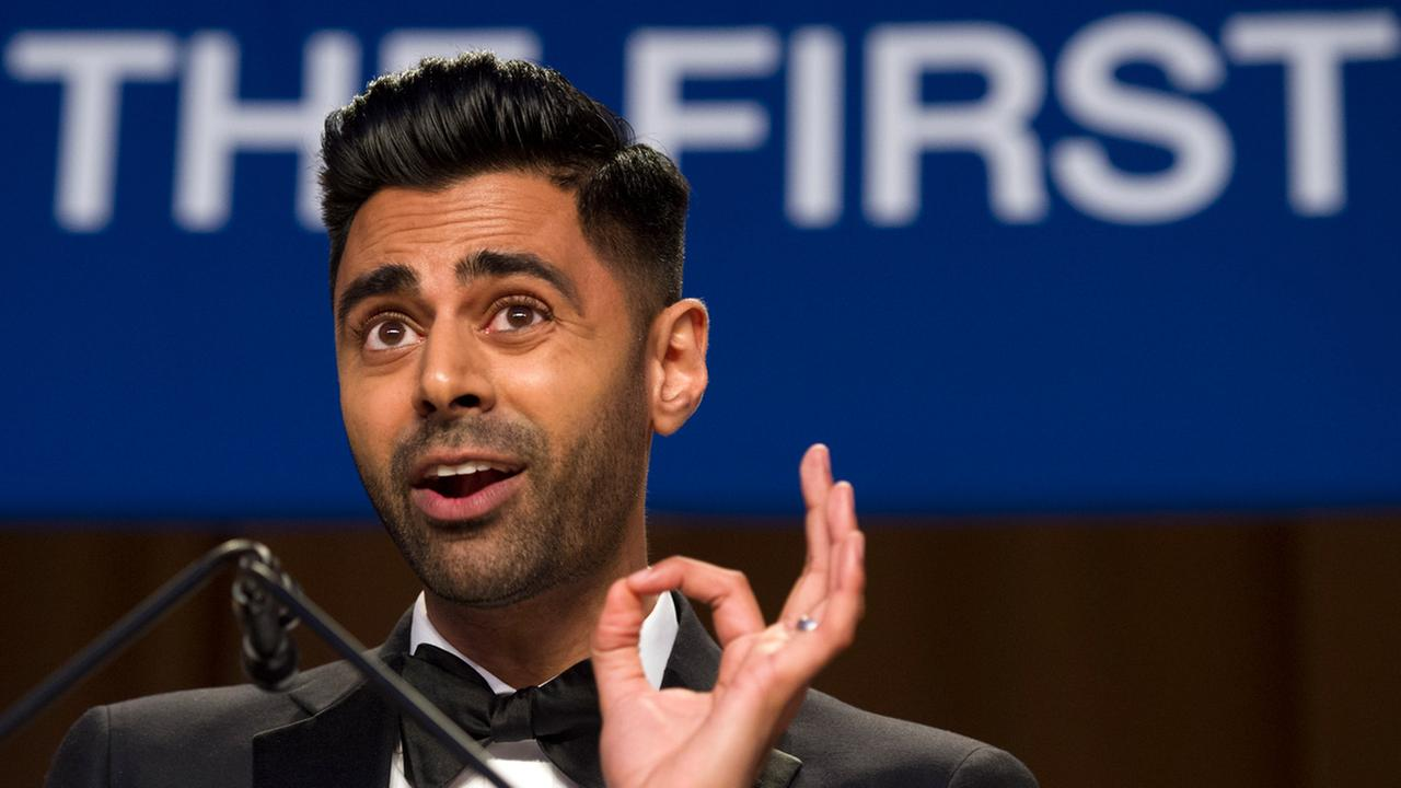 The Daily Show correspondent Hasan Minhaj entertains the guests at the White House Correspondents Dinner in Washington, Saturday, April 29, 2017.