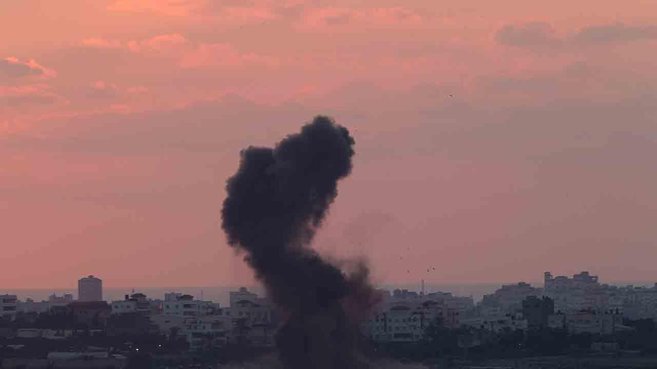 Smoke rises after an Israeli missile strike in the Gaza strip as seen from the Israel Gaza border on Wednesday, July 16, 2014.
