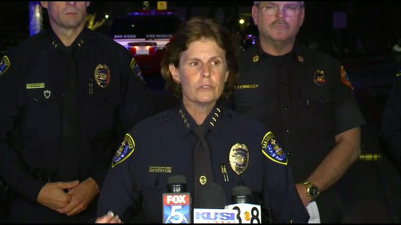 San Diego Police chief Shelley Zimmerman discusses a mass shooting in which eight people were wounded and the gunman was killed at an apartment complex.