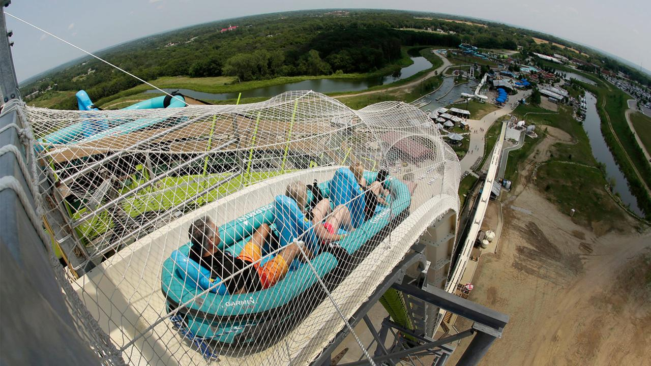 In this July 9, 2014, file photo, riders go down the water slide called Verruckt at Schlitterbahn Waterpark in Kansas City, Kan.