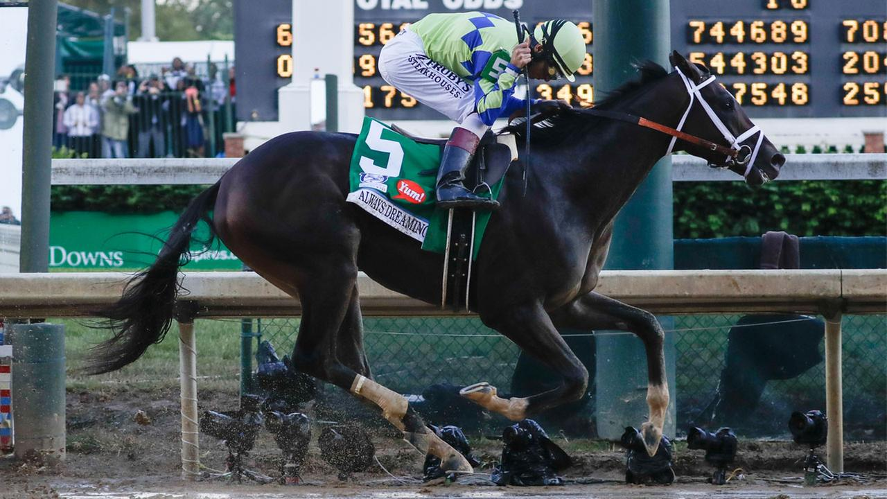 John Velazquez rides Always Dreaming to victory in the 143rd running of the Kentucky Derby horse race at Churchill Downs Saturday, May 6, 2017, in Louisville, Ky.