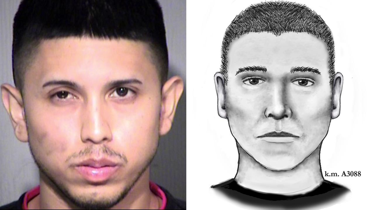 A mug shot released by authorities of 23-year-old Aaron Juan Saucedo (left) and a suspect sketch (right).