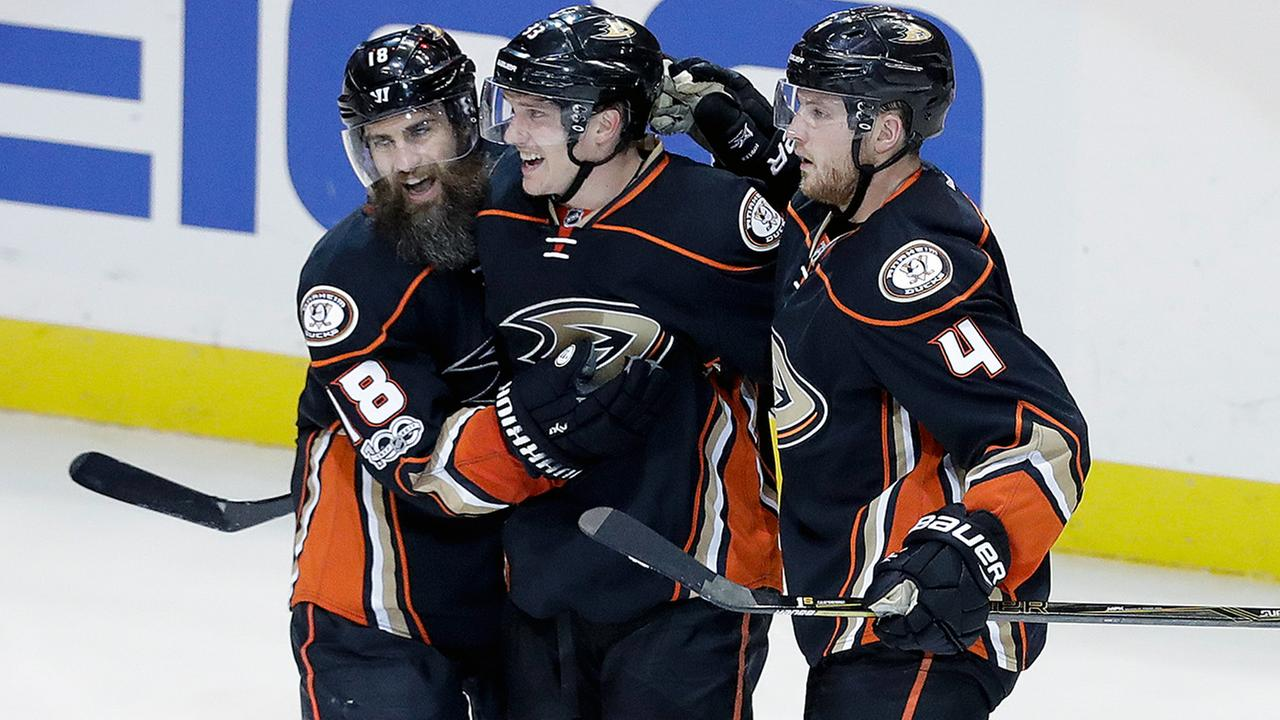 Anaheim Ducks left wing Jakob Silfverberg, middle, celebrates his goal with Patrick Eaves, left, and Cam Fowler against the Edmonton Oilers on Friday, April 28, 2017.
