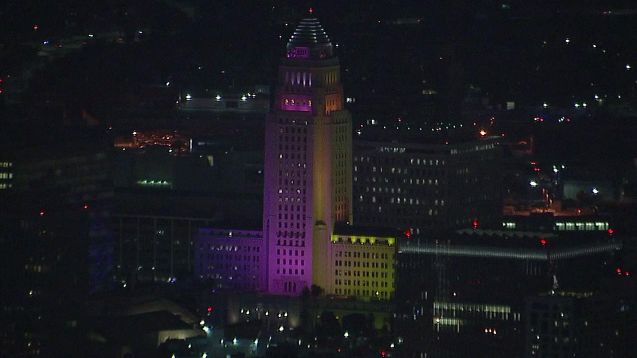 City Hall in downtown Los Angeles lights up in LA 2024 colors on Tuesday, May 9, 2017.KABC