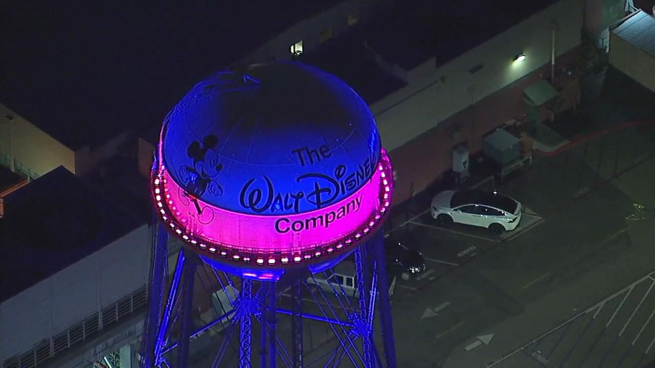 The water tower at the Walt Disney Studios lights up in LA 2024 colors on Tuesday, May 9, 2017.KABC