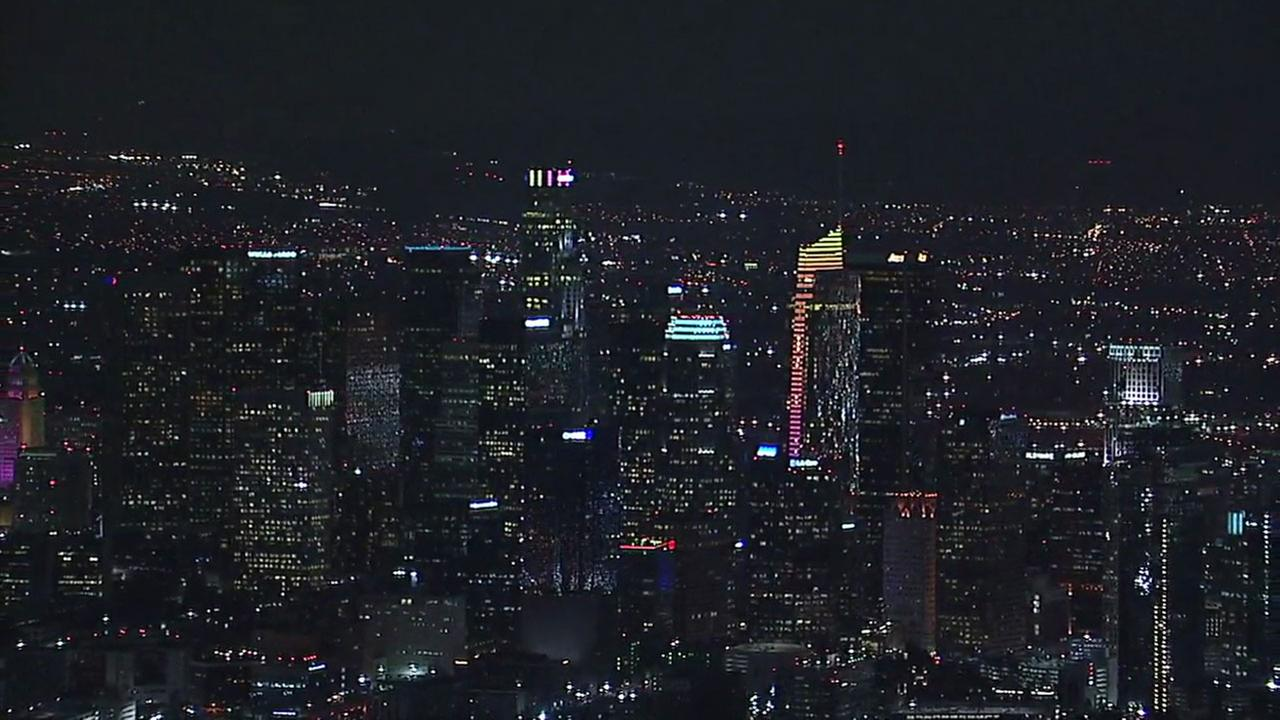Buildings in downtown Los Angeles light up in LA 2024 colors on Tuesday, May 9, 2017.KABC