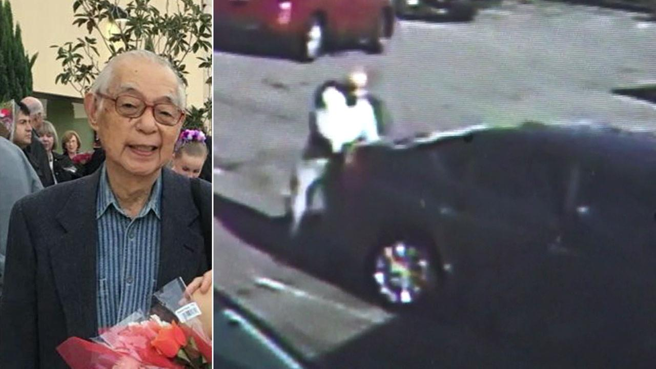 Roy Ito, 89, is shown in an undated photo alongside surveillance video showing a car backing out and hitting him in a parking lot.