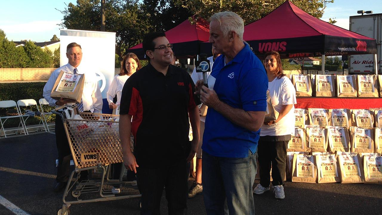 ABC7 Weathercaster Garth Kemp does an interview at the Feed SoCal event at Vons in Thousand Oaks on Friday, July 18, 2014.