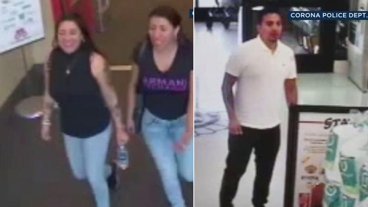 Police are looking for a man and two women who stole a pursue from a woman at a Corona store, then racked up thousands of dollars in charges at Target and Best Buy.