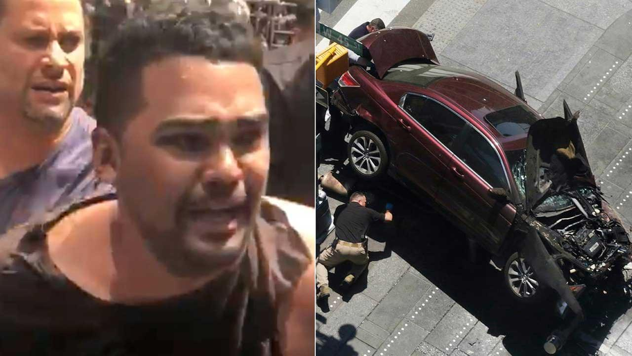 In this image made from video provided by Oscar Navarro Reyes, Richard Rojas is arrested after a fatal automobile accident on New York Citys Times Square, Thursday, May 18, 2017.