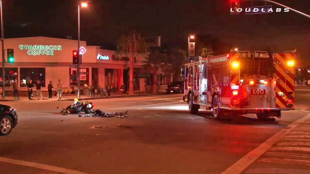 The scene of a motorcycle crash in North Hollywood on Saturday, July 19, 2014.