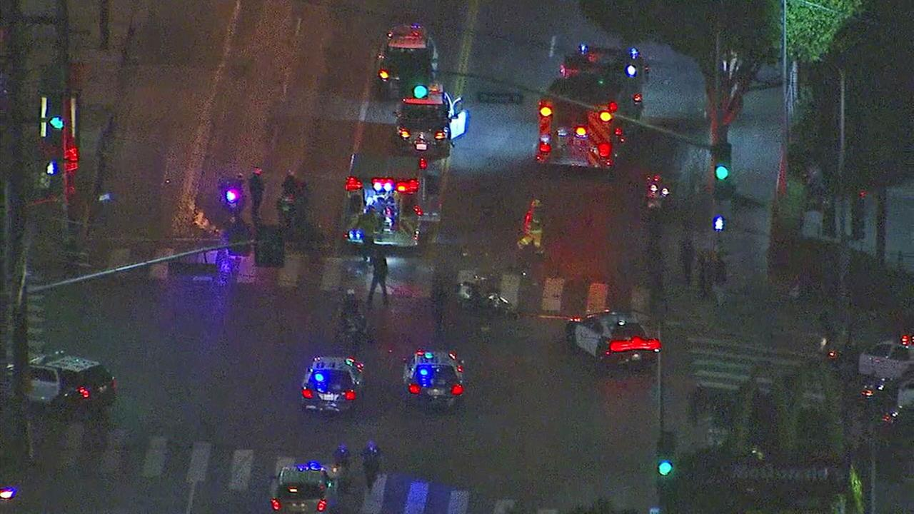 Authorities responded to the scene of a hit-and-run after an LAPD officer suffered a broken leg in the crash in downtown L.A. on Saturday, May 20, 2017.