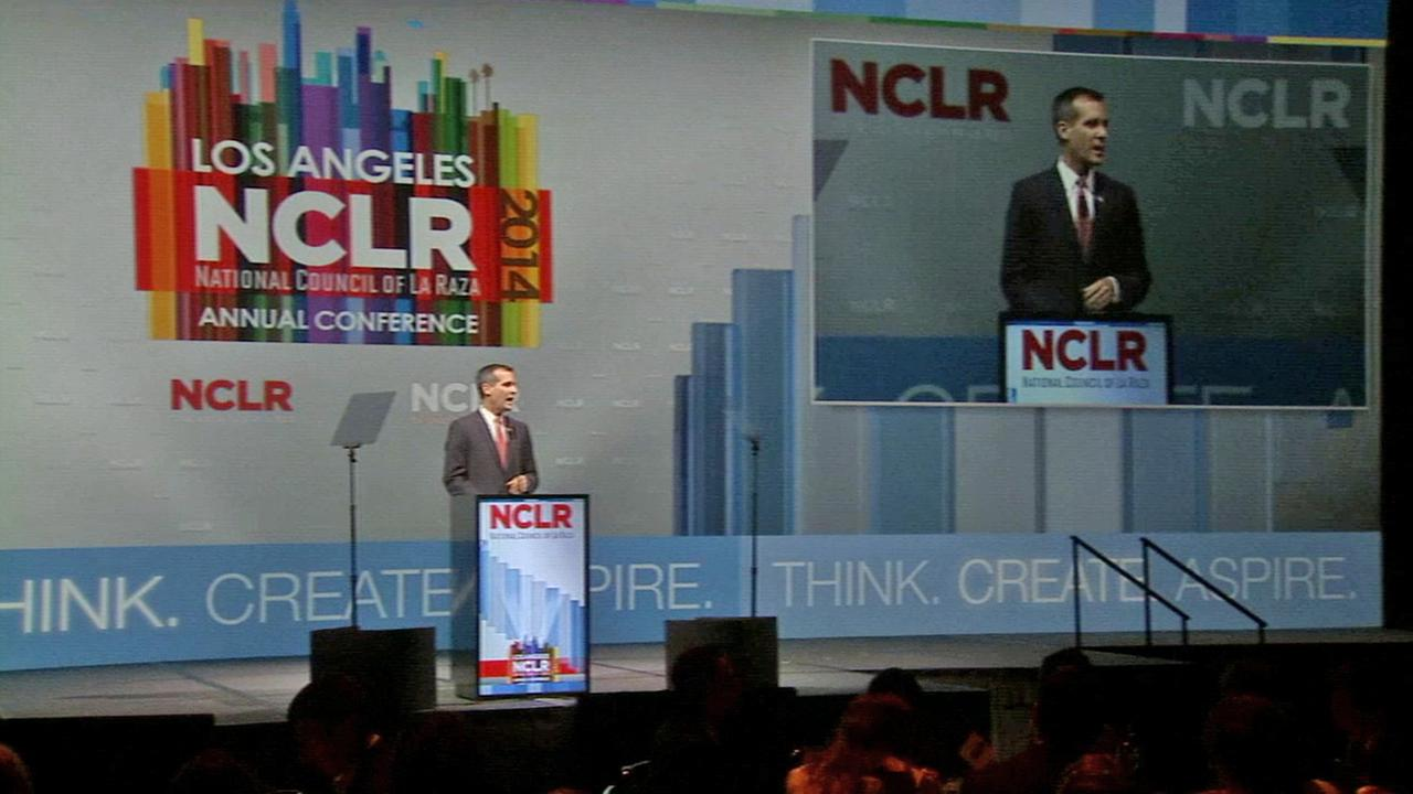 Los Angeles Mayor Eric Garcetti speaks at the National Council of La Raza on Saturday, July 19, 2014.